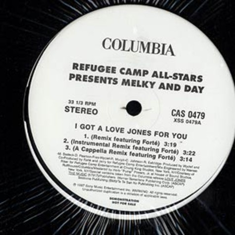 Refugee Camp All Stars presents Melky Day - I got a love jones for you remix feat. Forte