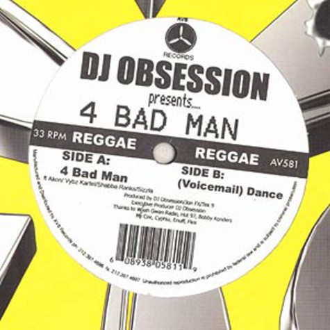 DJ Obsession - 4 bad man feat. Akon, Vybz Kartel, Shabba Ranks & Sizzla
