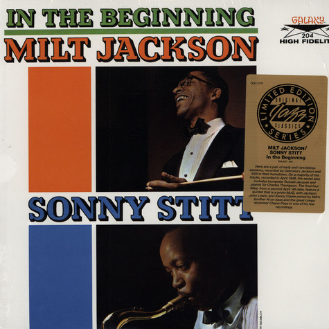 Milt Jackson / Sonny Stitt - In The Beginning