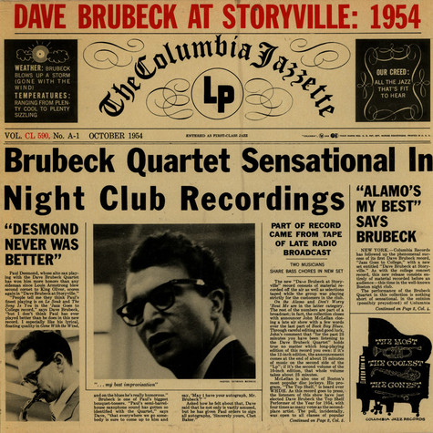 Dave Brubeck Quartet, The - Dave Brubeck At Storyville:  1954
