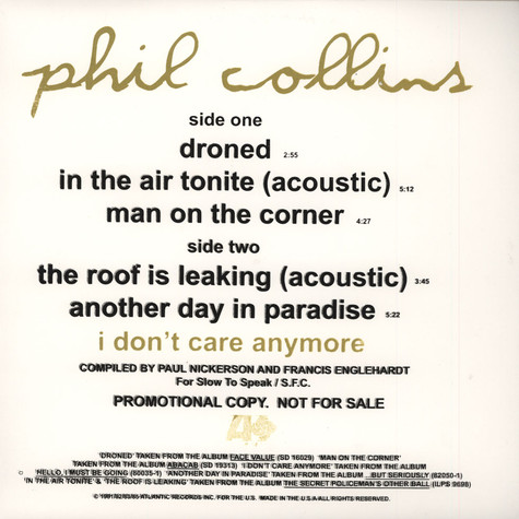 Phil Collins - Droned /In The Air Tonite (acoustic)