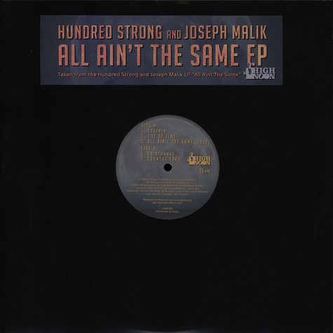 Hundred Strong & Joseph Malik - All Aint The Same EP