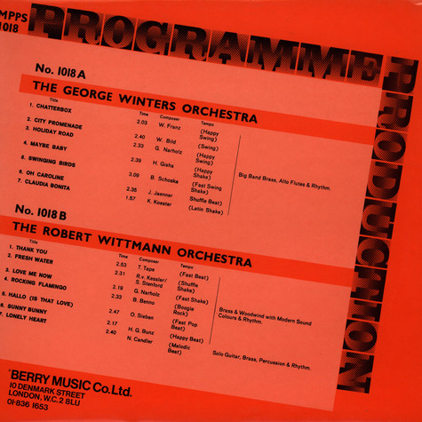 George Winters Group, The / Robert Wittmann Orchestra, The - Programme Production Number 18