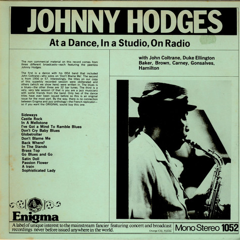 Johnny Hodges - At A Dance, In A Studio, On Radio