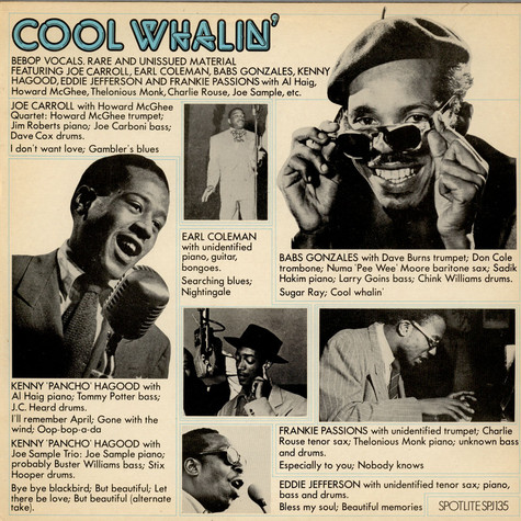 V.A. - Cool Whalin' - Be Bop Vocals, Rare And Unissued Material
