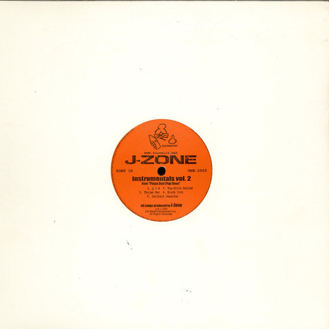 """J-Zone - Instrumentals Vol. 2 From """"Pimps Don´t Pay Taxes"""""""