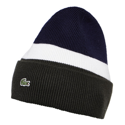 06fe191efbe Lacoste - Rib Knitted Hat (Sherwood   Flour   Navy Blue)