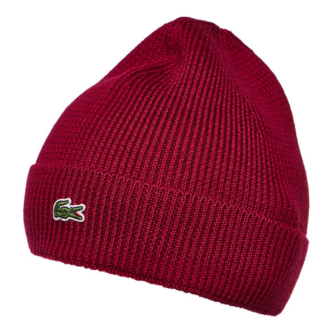 9c665c72b99 Lacoste - Half Cardigan Rib Knitted Hat (Bordeaux)