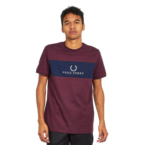 60b6330e0 Fred Perry - Panel Embroidered T-Shirt (Mahogany)