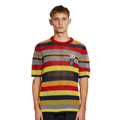 Fred Perry x Art Comes First - Striped Open Knit Crew Neck Tee
