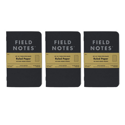 Field Notes - Pitch Black Ruled Memo Book 3-Pack